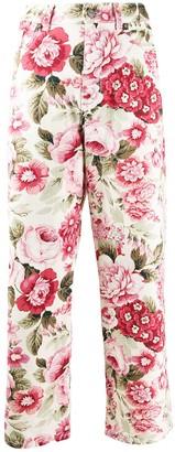 P.A.R.O.S.H. denim floral print cropped jeans
