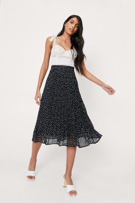 Nasty Gal Womens Dot-ever You Say Polka Dot Midi Skirt - Black - S