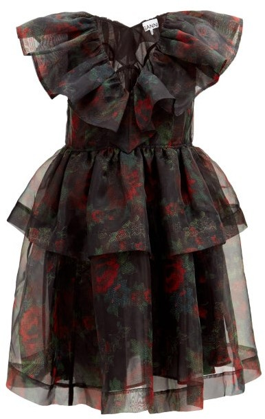 Ganni Tiered Rose-print Organza Dress - Black Red
