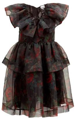 Ganni Tiered Rose-print Organza Dress - Black Red