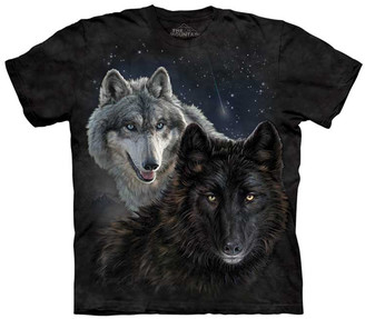 The Mountain Tee Shirts BLACK - Black Star Wolves Crewneck Tee - Adult