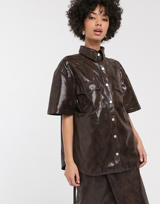 Simonett Milas faux leather snake print shirt co-ord in brown