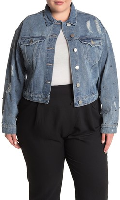 City Chic Distressed Stud Denim Jacket (Plus Size)
