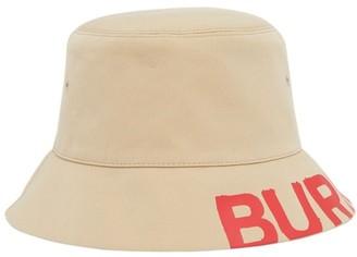Burberry Reversible Logo Print Cotton Gabardine Bucket Hat