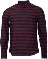 Fred Perry Mens Bold Stripe Long Sleeve Shirt Mahogany