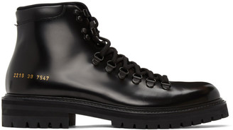 Common Projects Black Leather Hiking Boots