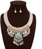 Kiwi Fashion exaggerated handmade set of diamond long necklace + earring suit