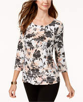 JM Collection Mixed-Print Jacquard Top, Created for Macy's
