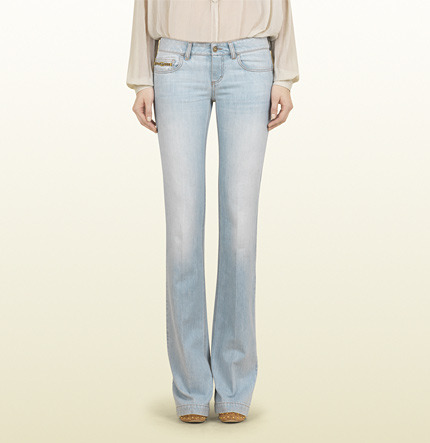 Gucci Light Blue Bleach Washed Denim 70's Pant