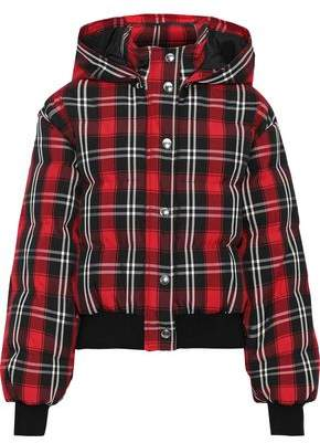 MSGM Quilted Checked Twill Down Hooded Jacket