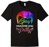 """Men's An Official """"GAY EDUCATED AND PETTY"""" Funny Happy T-shirt 2XL"""