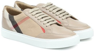 Burberry Salmond leather and cotton sneakers