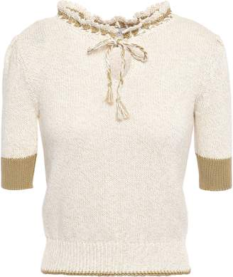 RED Valentino Crochet-trimmed Cotton Top