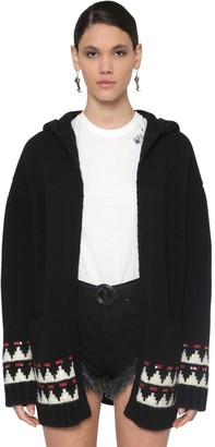 Saint Laurent Embellished Wool Maxi Cardigan W/ Hood