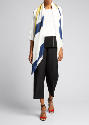 Akris Quadrat Patchwork Elbow-Sleeve Silk Crepe Tunic