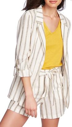 1 STATE Cabana Stripe Roll Sleeve Jacket