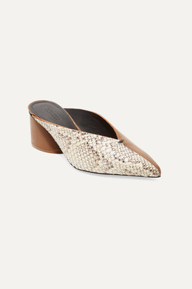 Mercedes Castillo Natti Paneled Snake-effect And Smooth Leather Mules - Snake print