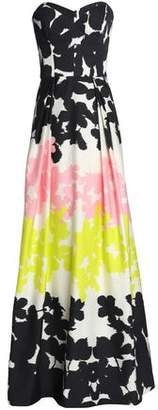 Milly Ava Strapless Printed Cotton-blend Gown