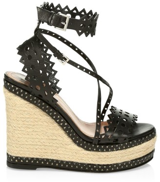 Alaia Laser Cut Leather Platform Espadrille Wedges