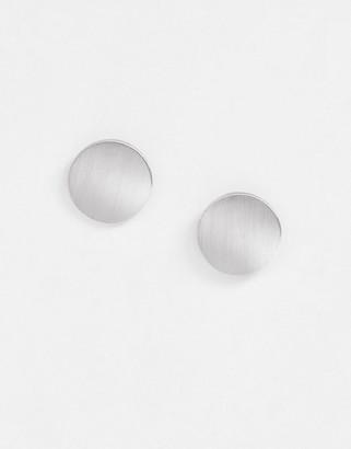 Pieces flat stud earrings-Silver