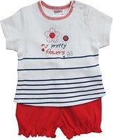 Schnizler Girl's Interlock 2 tlg. mit T-Shirt Pretty Flowers und Shorts Clothing Set - White -