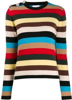Ganni Embellished Striped Jumper