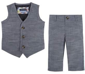 Andy & Evan Chambray Vest & Pants Set (Baby Boys)