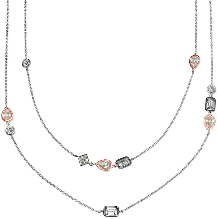Crislu 18K, Platinum, & Silver Cz 36In Necklace