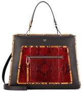 Fendi Runaway leather and snakeskin shoulder bag