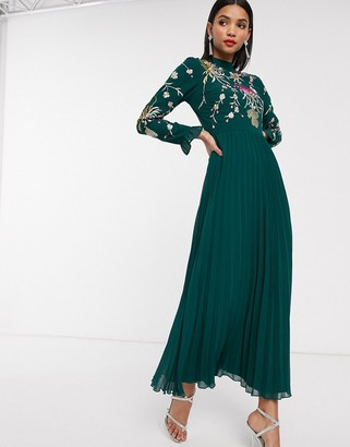 Asos Design DESIGN embroidered pleated maxi dress with fluted sleeve-Green