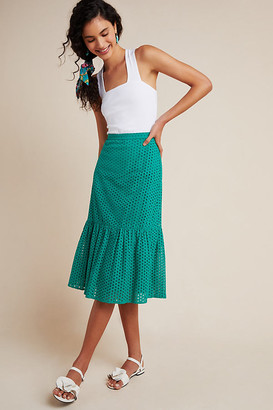 Maeve Aja Eyelet Midi Skirt By in Green Size 8