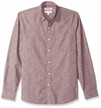 Goodthreads Men's Standard-fit Long-sleeve Polka Dot Homespun Chambray Shirt Shirt