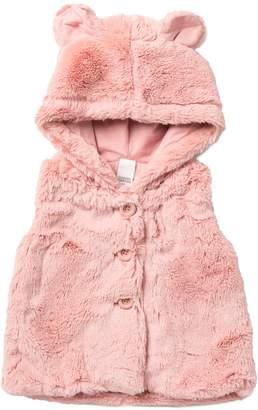Harper Canyon Faux Fur Hooded Vest (Baby Girls)