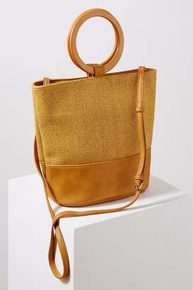 Faux-Leather Trimmed Raffia Tote