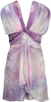 Roberto Cavalli Gathered printed silk-chiffon mini dress