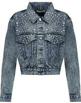 Alice + Olivia Crystal-Embellished Faded Denim Jacket