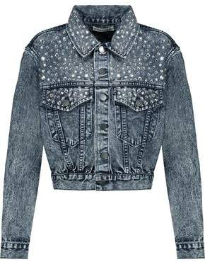 Alice + Olivia Alice+olivia Crystal-Embellished Faded Denim Jacket