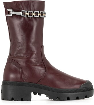 Madison.Maison Chain-Embellished Mid-Calf Boots