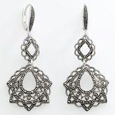 Sterling silver marcasite filigree drop earrings