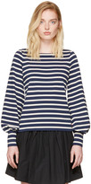 Marc Jacobs Navy and Ecru Striped 60s Sleeve T-shirt