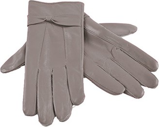 laylawson Ladies Womens Genuine Soft Winter Driving Leather Gloves with Fleece Lining and Bow[M/L][Grey]