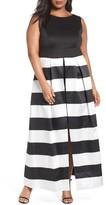 Sangria Plus Size Women's Stripe Overskirt Dress