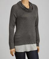 Celeste Gray Contrast Cowl Neck Top - Plus