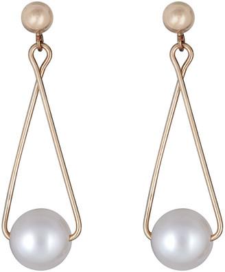 BELPEARL 14K 7Mm Freshwater Pearl Earrings