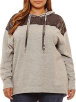 Boutique + + Long Sleeve Velvet Hoodie Plus