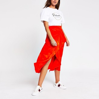 River Island Orange asymmetric frill wrap midi skirt