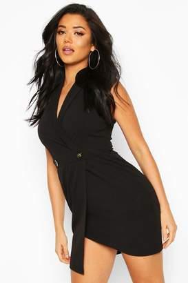 boohoo Scuba Crepe Blazer Dress