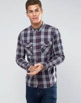 Pull&bear Check Shirt In Grey In Regular Fit