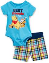Children's Apparel Network Winnie the Pooh Blue Bodysuit & Yellow Plaid Shorts - Infant