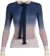 Sonia Rykiel Tie-neck striped ribbed-knit sweater